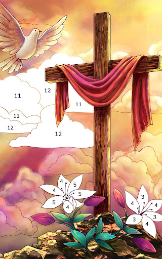 Bible Coloring - Paint by Number, Free Bible Games  screenshots 9