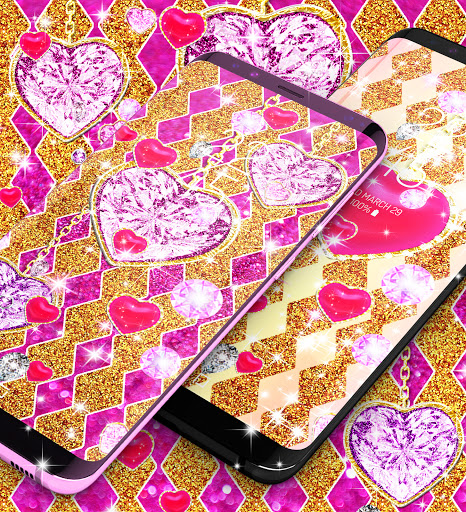 Golden luxury diamond hearts live wallpaper apktram screenshots 11