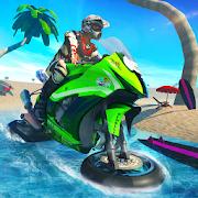 Water surfer beach bike racing