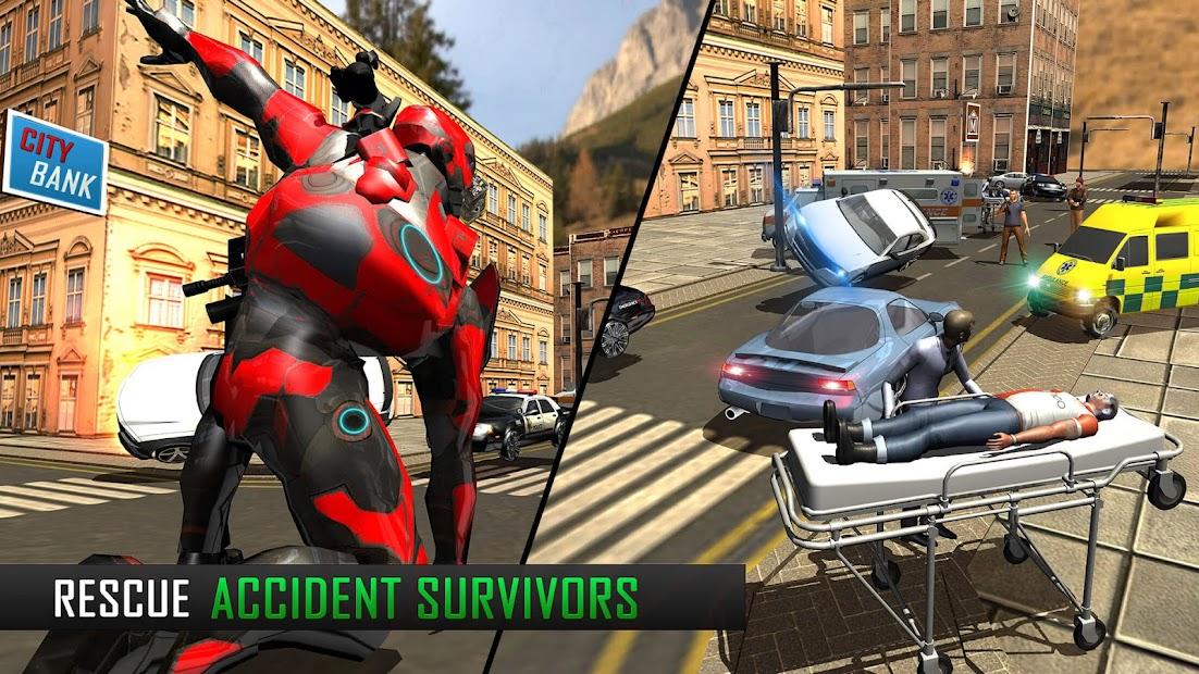Screenshot 17 de Robot volar Grand City Rescate para android