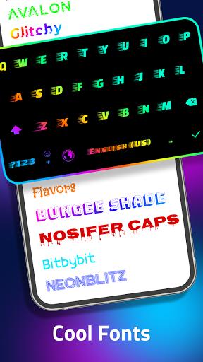 LED Keyboard - RGB Lighting Keyboard, Emojis, Font  Screenshots 5