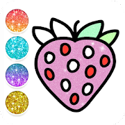 Fruit & vegetables Coloring Book For Kids Glitter