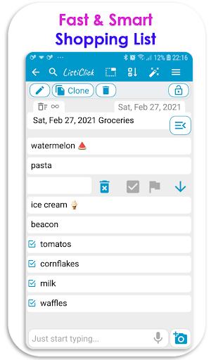 ListiClick App - Fastest List, Notepad & ToDo