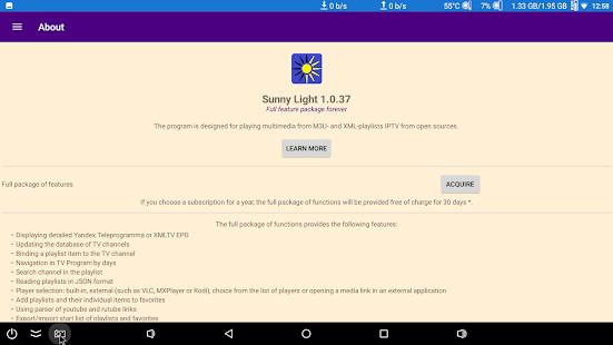 Sunny Light M3U & XML IPTV Player with TV program