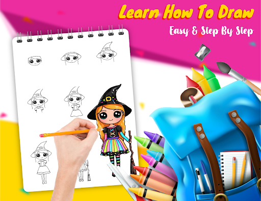 Drawely - How To Draw Cute Girls and Coloring Book modavailable screenshots 21