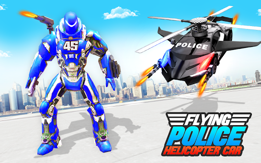 Flying Police Helicopter Car Transform Robot Games 30 Screenshots 6