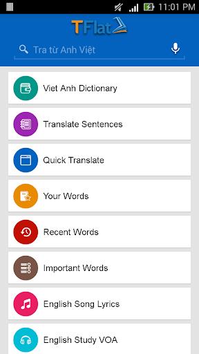 Dich tieng Anh - Tu dien Anh Viet TFlat 7.6.0 Screenshots 8