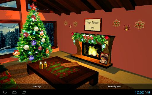 3D Christmas Fireplace HD Live Wallpaper screenshots 2