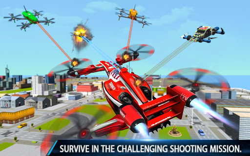 Flying Formula Car Games 2020: Drone Shooting Game apktram screenshots 1