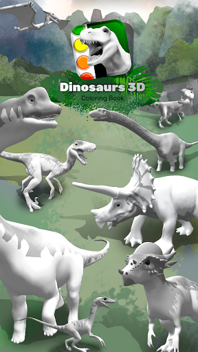 Dinosaurs 3D Coloring Book apktreat screenshots 1