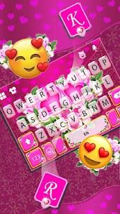 Pink Rose Flower Keyboard Theme 3