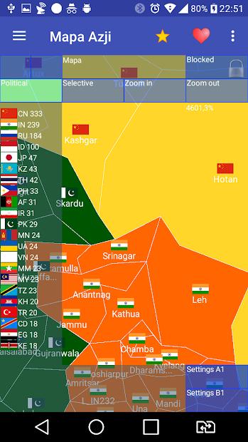 Captura de Pantalla 3 de Mapa Azji Free para android