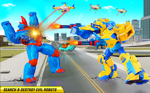Rhino Robot Monster Truck Transform Robot Games  screenshots 19