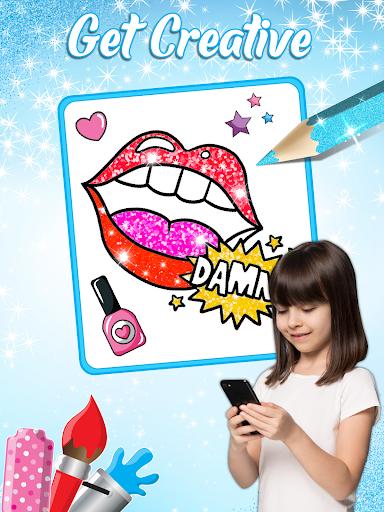 Glitter Lips with Makeup Brush Set coloring Game 2.2 APK screenshots 6