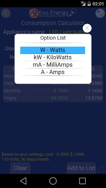 Captura de Pantalla 13 de EvoEnergy - Electricity Cost Calculator Free para android