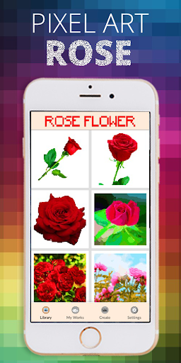 Rose Flower Pixel Coloring By Number  screenshots 1