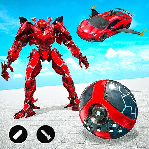 Red Ball Robot Car Transform: Flying Car Games APK