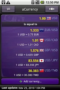 aCurrency Pro (exchange rate) Screenshot
