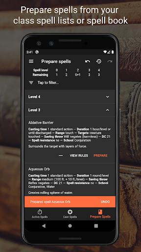 Spell Tracker for Pathfinder RPG screenshots 3