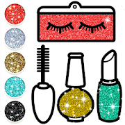 Beauty Make Up Glitter Coloring Book for Girls
