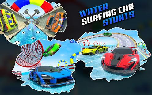 Water Surfing Car Stunt Games: Car Racing Games