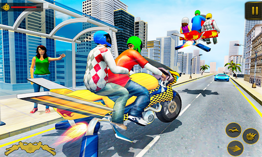 Flying Hover Bike Taxi Driver City Passenger Sim screenshots 3