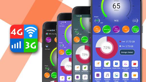 WiFi, 5G, 4G, 3G Speed Test -Speed Check - Cleaner Apkfinish screenshots 1