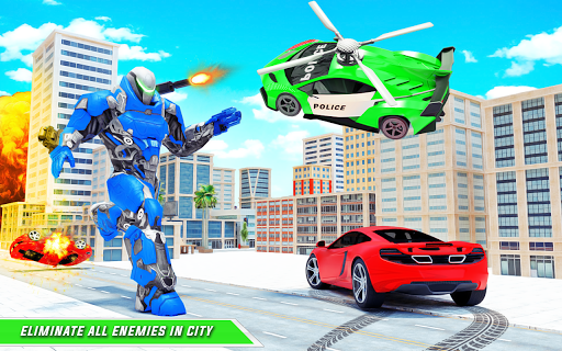 Flying Police Helicopter Car Transform Robot Games 30 Screenshots 8