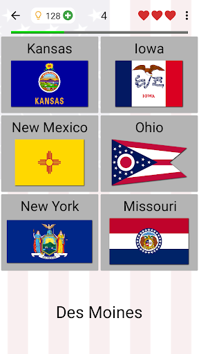 50 US States Map, Capitals & Flags - American Quiz 3.3.0 screenshots 3