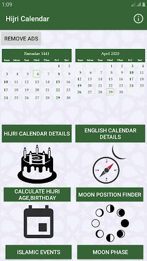 Hijri calendar (Islamic Date) and Moon finder 4.2 Screenshots 1