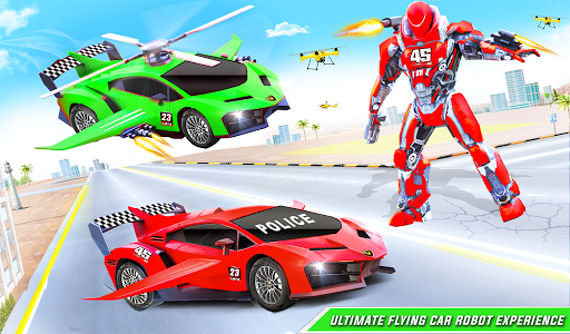 Flying Police Helicopter Car Transform Robot Games 30 Screenshots 15