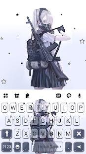 Armed Mask Girl Keyboard Background