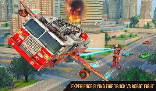 Flying Firefighter Truck Transform Robot Games 26 screenshots 10