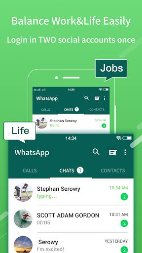 2Face: 2 Accounts for 2 whatsapp, dual apps screenshots 2