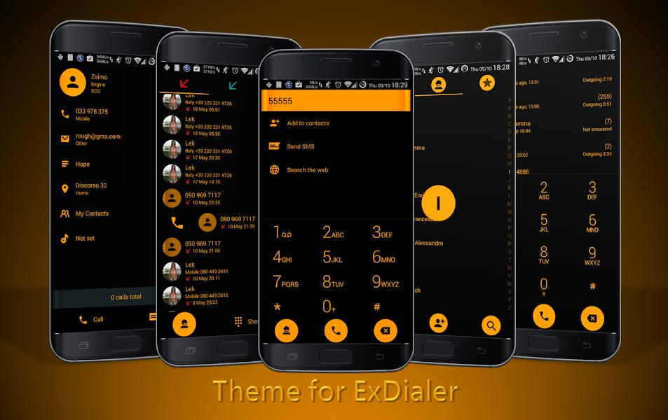 Dialer theme Flat Black Orange