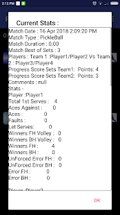 PickleBall Match Stats, Scorer Free Screenshot