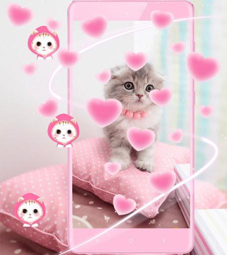 Pink Cute Kitty Cat Theme 1.2.4 screenshots 1