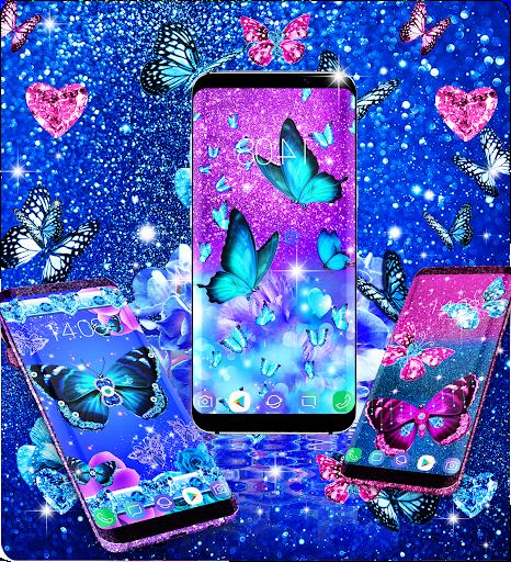 Blue glitter butterflies live wallpaper apktram screenshots 13