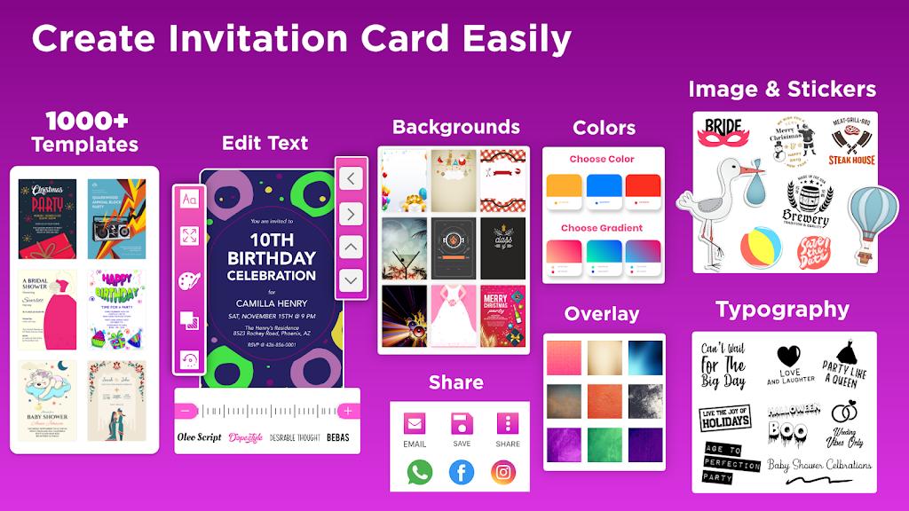 Invitation Maker Free - Birthday & Wedding Card  poster 1