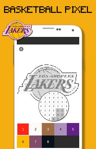Basketball Logo Team Color By Number - Pixel Art 9.0 screenshots 1
