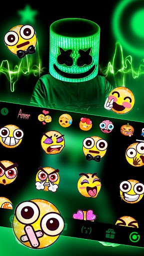 neon dj cool man keyboard theme screenshot 3