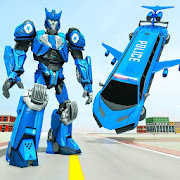 Flying Limo Robot Car Transform: Police Robot Game