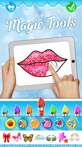 Glitter Lips with Makeup Brush Set coloring Game 2.2 APK screenshots 1