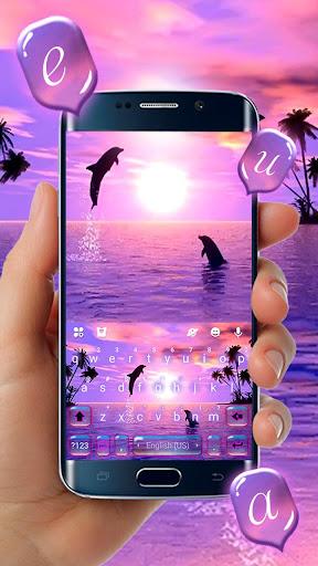Sunset Sea Dolphin Keyboard Theme  screenshots 2