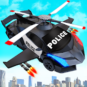 Flying Police Helicopter Car Transform Robot Games