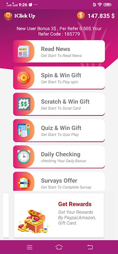 1Click Up Rewards and Free Gift Cards screenshots 2